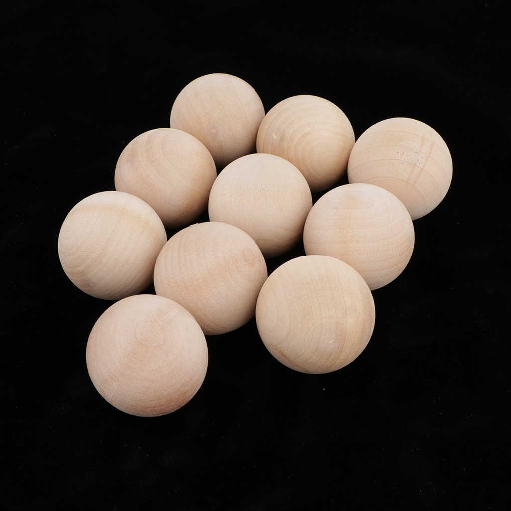 100xHardwood Balls Solid Natural Beech Wooden Balls Beads Crafts Making 10mm