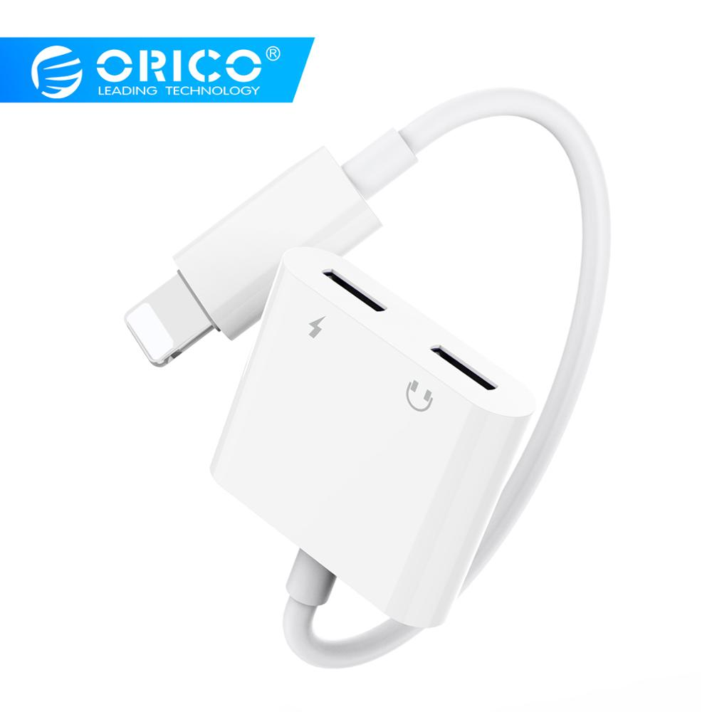 ORICO Headphone Splitter Adapter For Iphone 8 Plus Lighting Jack Adapters Converters Charging Music Calling For Iphone X XR XS