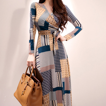 New V-neck Print Long Dress Women Bandage Split Bodycon Dresses 2019 Autumn Geometric Casual Vestido De Festa allover geometric print dress