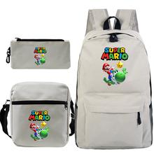 3 sztuk zestaw Super Mario wzór szkolny plecak dla chłopców-nastolatków dziewcząt ortopedyczny plecak szkolny torba dziecięca na ramię tanie tanio PUOU Płótno Miękki uchwyt Unisex Tłoczenie Miękka Chain Łukowaty pasek na ramię Moda backpack Poliester NONE zipper