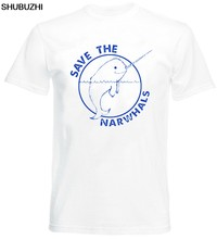 Tops Cool T Shirt Save The Narwhals T Shirt Funny Cool Dolphin Animal Whales Unicorn Vintage Tee O-Neck Tshirt Homme(China)