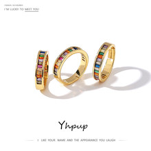 Yhpup moda multi-color feminino aberto anéis brilhando cz cobre charme ouro anéis para a menina feminino festa de casamento jóias nova