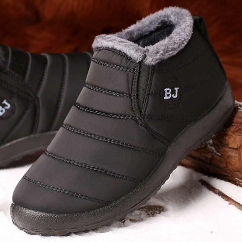 2020 yeni erkek botları moda kışlık botlar erkekler için kürk kış kar botları peluş erkek ayakkabı sıcak su geçirmez erkek ayakkabısı artı boyutu