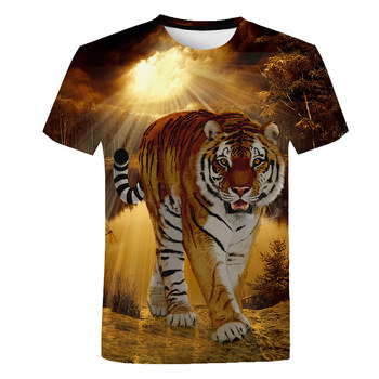 2-14 Years Summer Kids Boys T Shirts Top Children Short Sleeve Tops Tees Clothes Baby Boy Cotton 3d Tiger Print T-Shirt Clothing