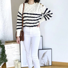 Striped-Cable Pullover Knitted Top Round-Neck Spring/autumn Casual Long-Sleeved New Button
