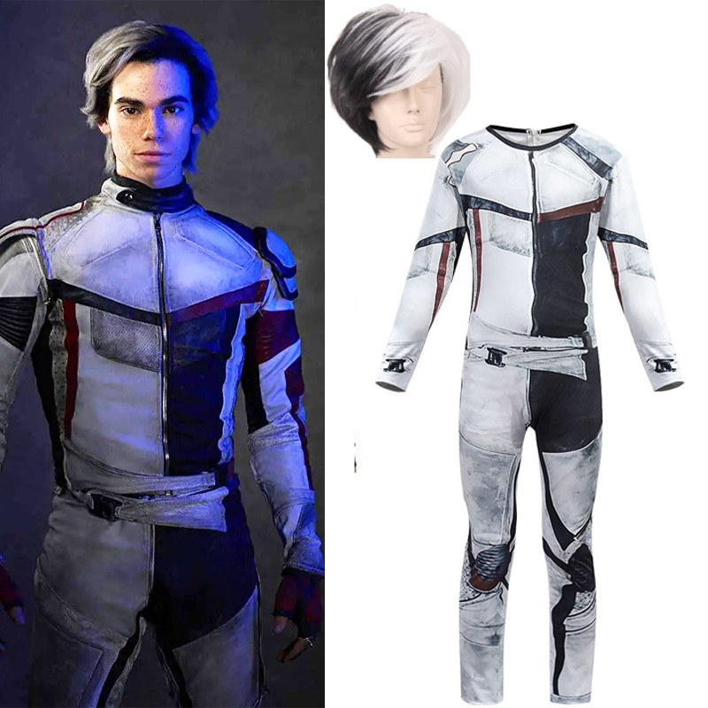 Adult/kids Descendants 3 Carlos Gil Jumpsuit Wig Cosplay Costume Polyester 3D Printed Halloween Costumes For Children