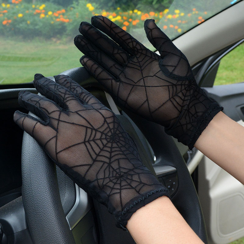 Fashion Sexy Summer Female Full Finger Sunscreen Short Lace Gloves Women Driving Spider Web Pattern Sun Anti-UV Black Gloves C10