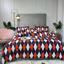 Printing Plaid Home bed set Satin Silk pillowcase duvet cover Bedding set flat sheet bedclothes 3/4pcs queen king Single full