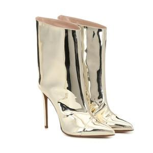Image 2 - Mstacchi女性冬のパテントレザーブーツ女性ポインテッドトゥシンハイヒールの靴レディースセクシーなメタルゴールデンのための女性