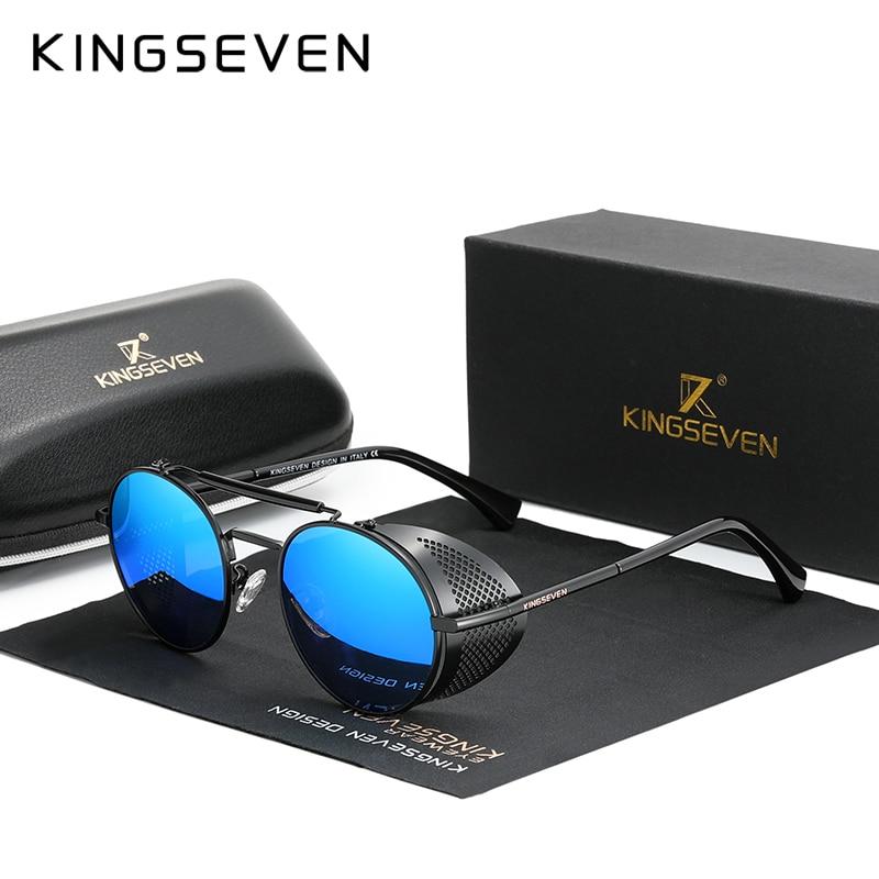Genuine KINGSEVEN Retro Round Steampunk Sunglasses Men Retro Women Sun Glasses Shades Vintage Travel Eyewear Gafas De Sol 7550 8