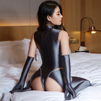 Open Crotch Hollow Out Pants Zipper Bodysuit Porn Club Costume Couple Sex Games Allure Suit Oil Glossy High Elasticity Sexy Sets 1