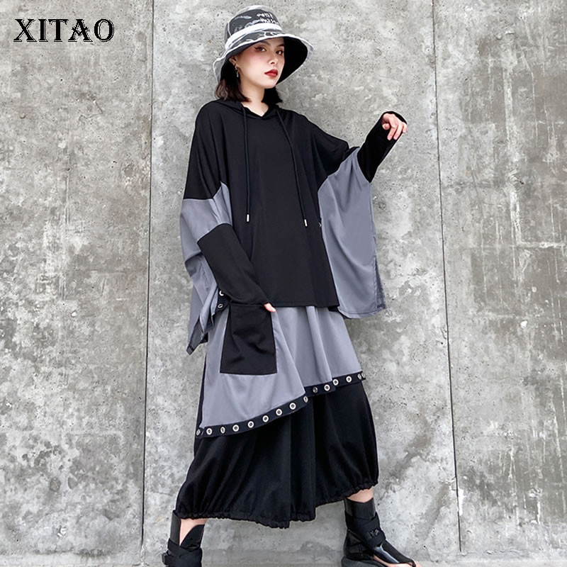 XITAO Spring 2020 Plus Size Sweatshirt Contrast Contrast Hoodies Women Bat Sleeve Lazy Oaf Women Tops Fashion Streetwear XJ3762