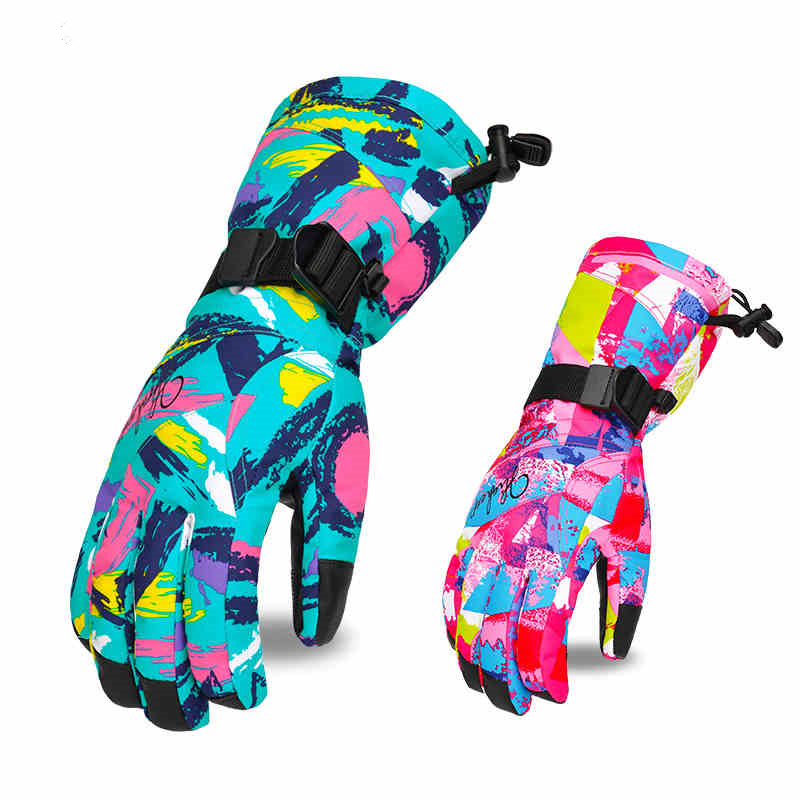 Thicken Winter Gloves Women Waterproof Ski Gloves Female Snowboard Gloves Motorcycle Ski Mittens Windproof Snow Gloves Thermal