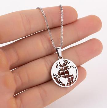 Hfarich Stainless Steel Round Latitude Longitude World Map Pendant Necklace for Women Girls Earth Travelling Accessories image
