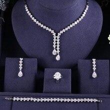 Роскошные ААА кубического циркония тяжелое ожерелье, висячие серьги, браслет и кольцо 4 шт. Дубай полный Свадебный комплект ювелирных изделий для женщин