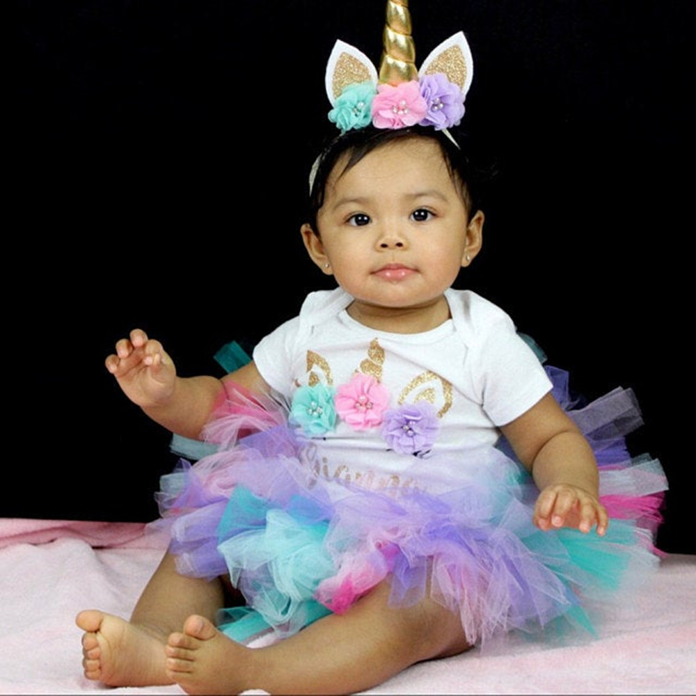 Custom Name Birthday Rainbow Unicorn Outfit Tutu Set, Personalize Any Name Baby Girl 1st Birthday Bodysuit Tutu Headband Set