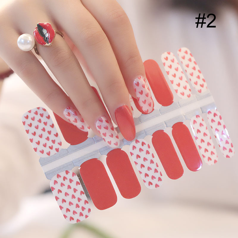 Heart Bow-knot Detachable Full Cover Fake Nail Tips With Glue Sticker Mixed Pattern Nail Sticker Wraps Decoration DIY Design