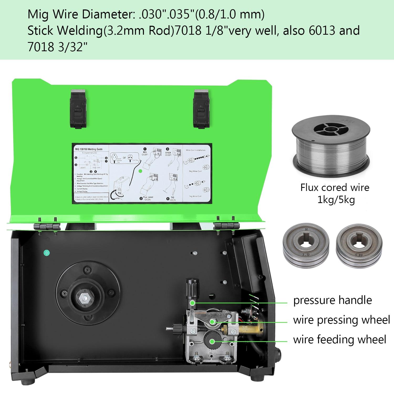 Tools : Welding Machine MIG 210 180A Gas and Gasless MIG Stick Lift TIG Welder 4 in 1 Flux Core  Solid Wire MIG Inverter Welding Machine