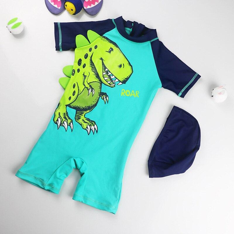 Baby One-piece Swimming Suit Children Infants Surf Wear Sun-resistant Quick-Dry Hot Springs Warm Boy Swimsuit For Boys Swim Cap