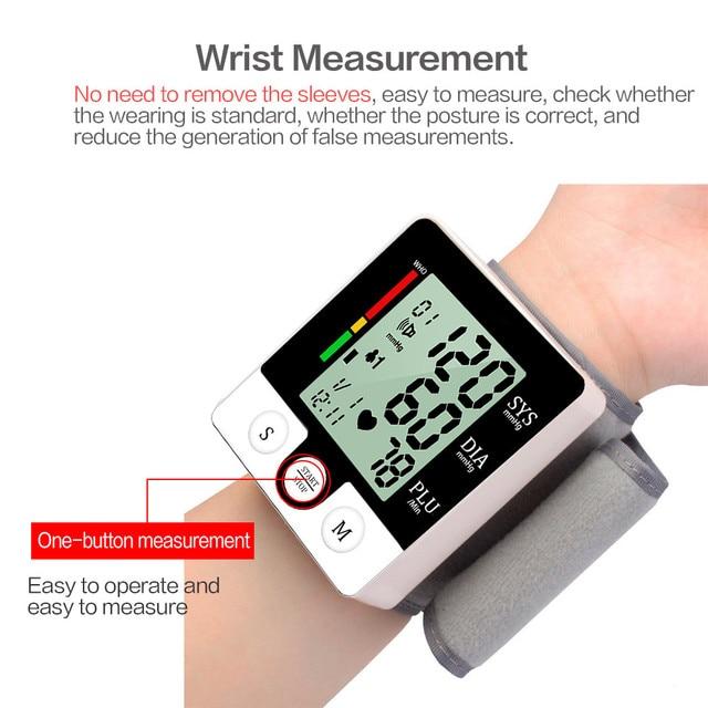 Medical Wrist Sphygmomanometer Large Screem LCD Display Blood Presure Meter Monitor Heart Rate Pulse Portable Tonometer