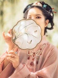 Винтажный китайский стиль двухсторонняя вышивка любители украшения ручной работы бамбук Hanfu круглый дворец ручной вентилятор для танцев ф...