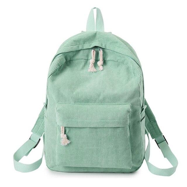 Фото вельветовый школьный рюкзак для девочек подростков дорожный