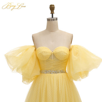 BeryLove Bright Yellow Prom Dress 2019 Pink Dot Tulle A-line Long Party Dress Formal  Latter Sleeves Elegant Dresses Vestido 4