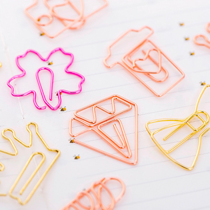 free shipping 100pcs Cute cartoon bookmark paperclip rose gold paper clip Student Metal Shape Bookmark Clips Stationery