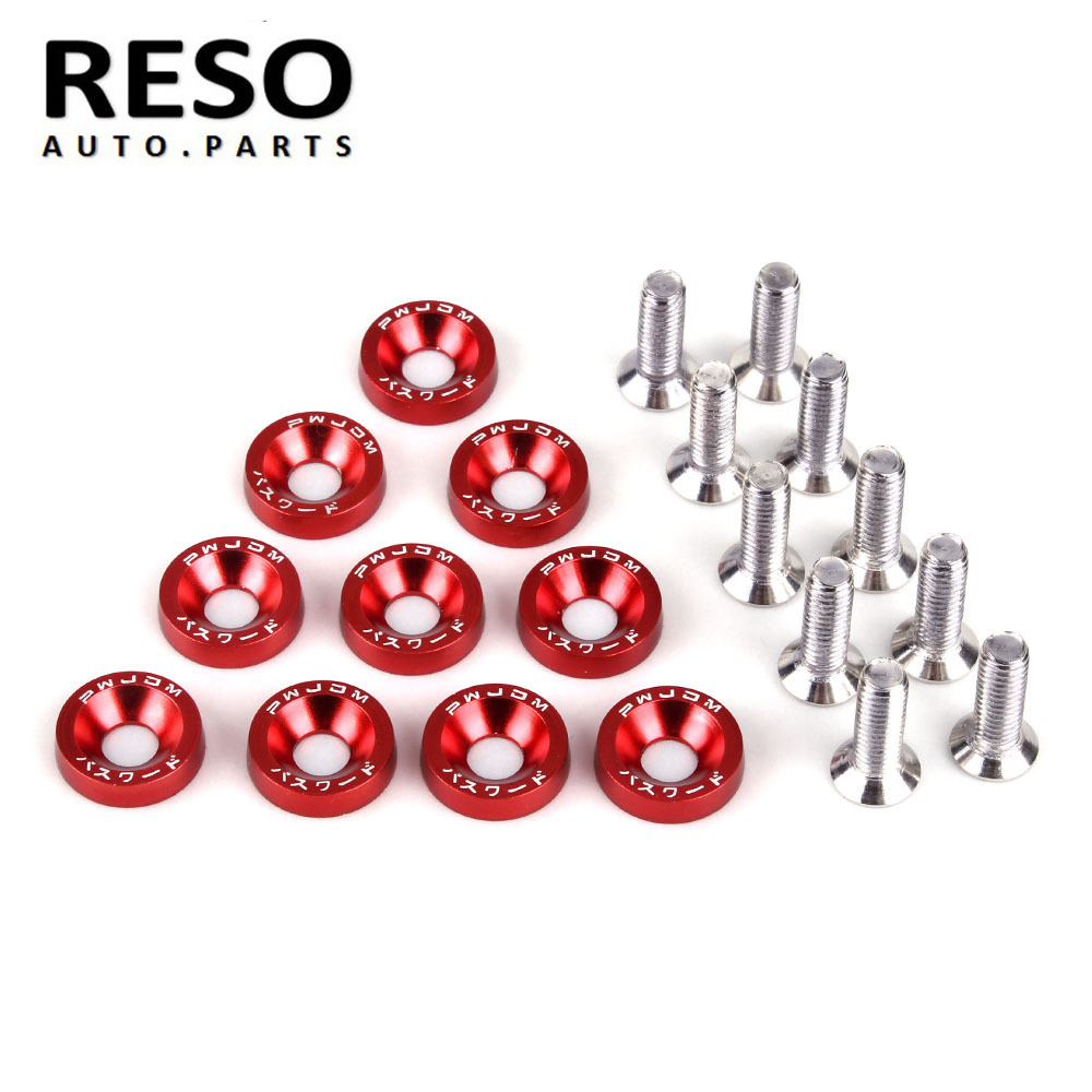 RESO-- M6 Washer Screw Protection Pad Nuts & Bolts Car Modification License Plate Screw Decoration Fender Washer Bumper