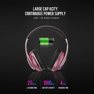 Image 2 - Foldable Wireless Headset LED Light 3D Stereo Hi Fi Gaming Bluetooth Headphone Sports Music Earphone Earbuds 20H Play Time