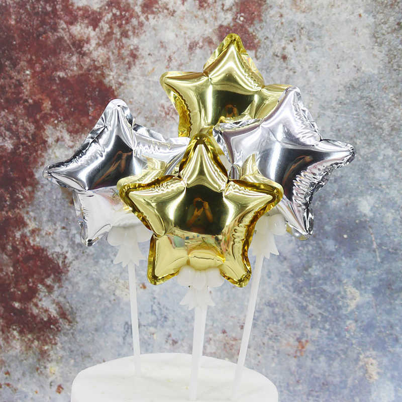 4 pulgadas 10Cm Mini globo inflable automático de cinco puntas estrella amor globo Decoración de Pastel de fiesta globo