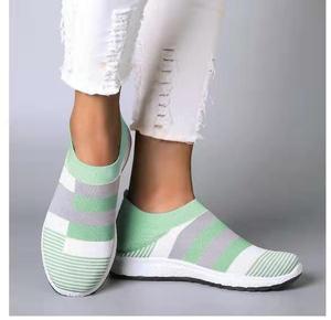 Image 5 - Fujin 2020 Flats Vrouwen Lente Mode Casual Schoenen Lente Schoenen Sneakers Vrouwen Platte Schoenen Slip Op Ademend Knit Stretch Flats