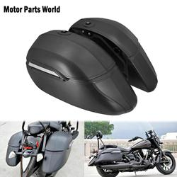 Universal Motorcycle Classic Hard Bags Saddlebags & Heavy Duty Mounting Black For Kawasaki For Honda For Harley Touring Softail