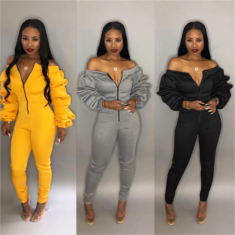 Women Winter Thick Warm Cotton Cool Shoulder Jumpsuit Long Sleeve Zipper Jumpsuit Romper Female Sexy Club Wear Bodycon Overalls
