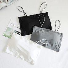 Moda Sexy biustonosze dla kobiet bielizna Push-Up lodowy jedwab bez szwu słowo Sling kobieta zakrętka tubki 2021 moda