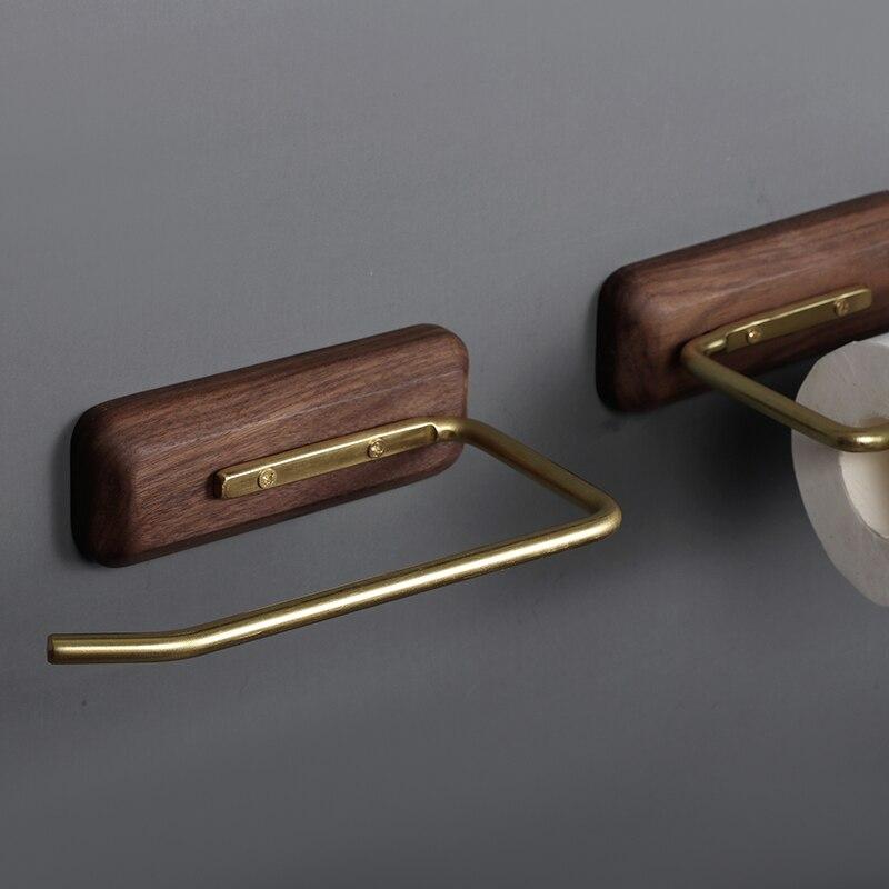Nordic ванная черный орех латунь бумага полотенце вешалка креатив расширение кухня рулон бумага держатель бесплатно дырокол