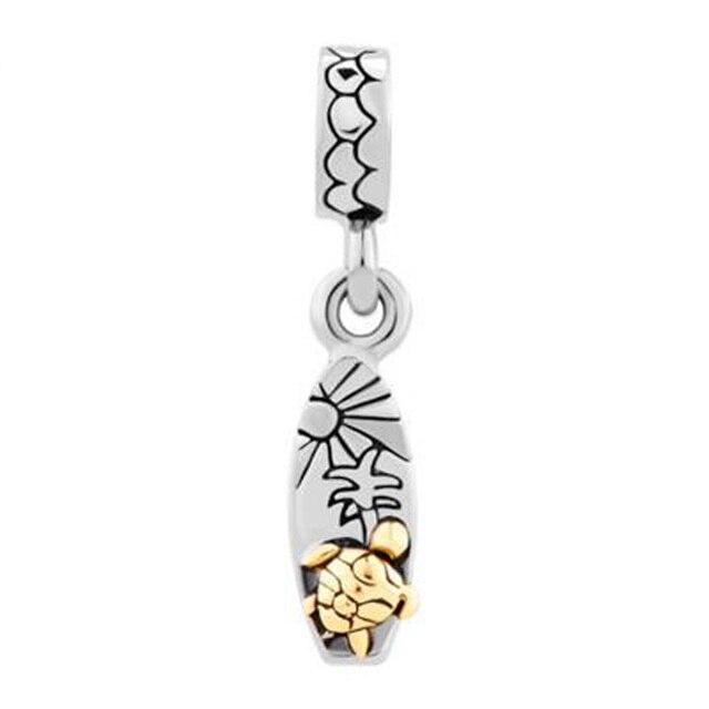 Fit Pandora charm bracelets Sun & Tree Gold Sea Turtles Love Beach Surfboard Dangle Charm   Bracelets beads for jewelry making