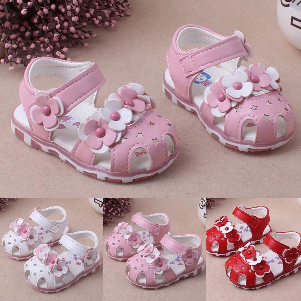 Children Shoes Princess Girls Baby Hallow Flower Light Beach Sandals Girl Cute Soft Shoes Sandały Dziecko Newborn Dropshipping