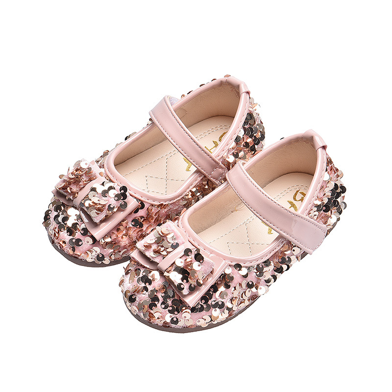 Sequins Bow Princess Party Shoe For Toddler Girl Flat Wedding Shoes Baby Leather Shoes Kids Dress Little Girls 1 2 3 4 5 6 Years