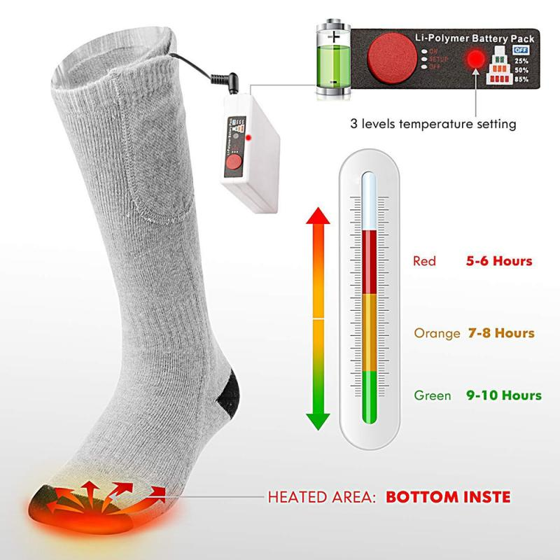 Electric Battery Heating Socks Feet Thermal Winter Warmer Heater Foot Shoe Boot title=