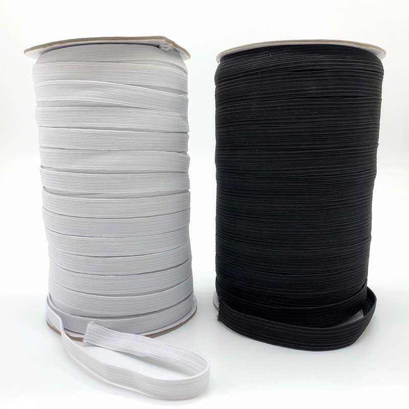 5 yardas/lote 3/6/8/10/12mm banda elástica blanca/negra de alta costura para Fiat, banda de goma de la cintura, banda elástica, cinta elástica