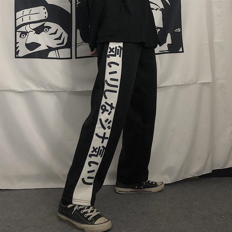 Harajuku Streetwear Leisure Pants Women Female Korean Ulzzang Sports Wide Leg Trousers Winter Letter Printed Warm Sweatpants
