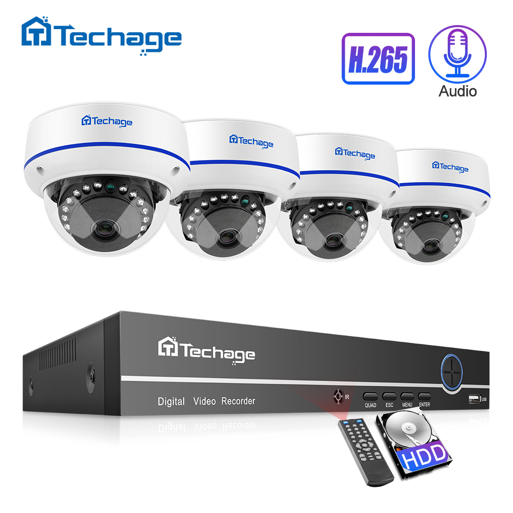 Techage H.265 CCTV Security System 4CH 1080P POE NVR Kit Outdoor Indoor Dome Audio Record IP Camera P2P Video Surveillance Set image