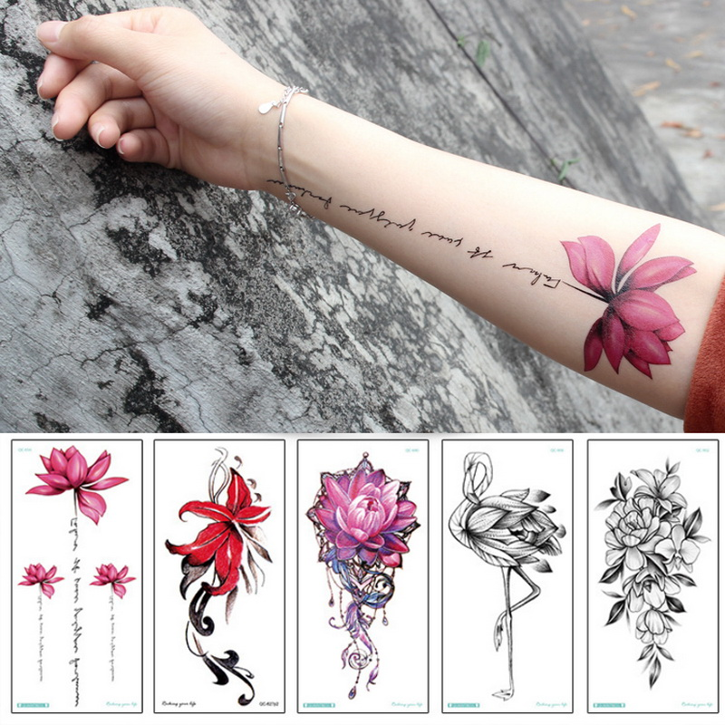 temporary armband tattoos waterproof temporary tattoo sticker flower lotus tattoo sleeve women wrist arm sleeves tatoo fake girl 1