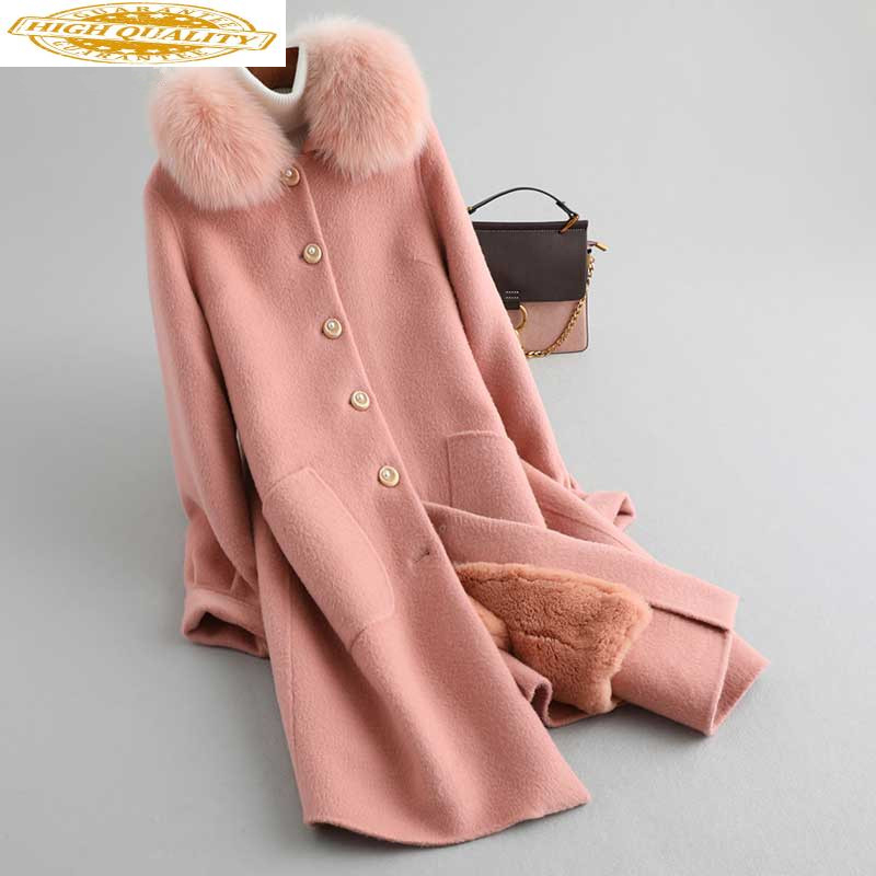 Real Fur Coat Female Natural Rabbit Fur Liner 100% Wool Coat Winter Jacket Women Fox Fur Collar Warm Long Jackets MY4363