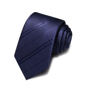 2020 Brand New Fashion High Quality Men 7CM Navy Blue Dark Striped Necktie Business Formal Suit Neck Tie for Men with Gift Box