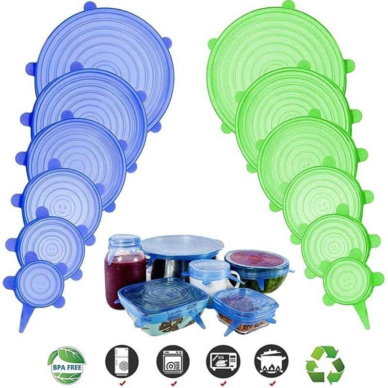 Alimentos Saran Wrap Stretch cubierta de silicona al vacío Almacenamiento de cocina reutilizable Organización de la cocina mantener fresco sello tazón con tapa contenedor|Tapas de batería de cocina|   - AliExpress