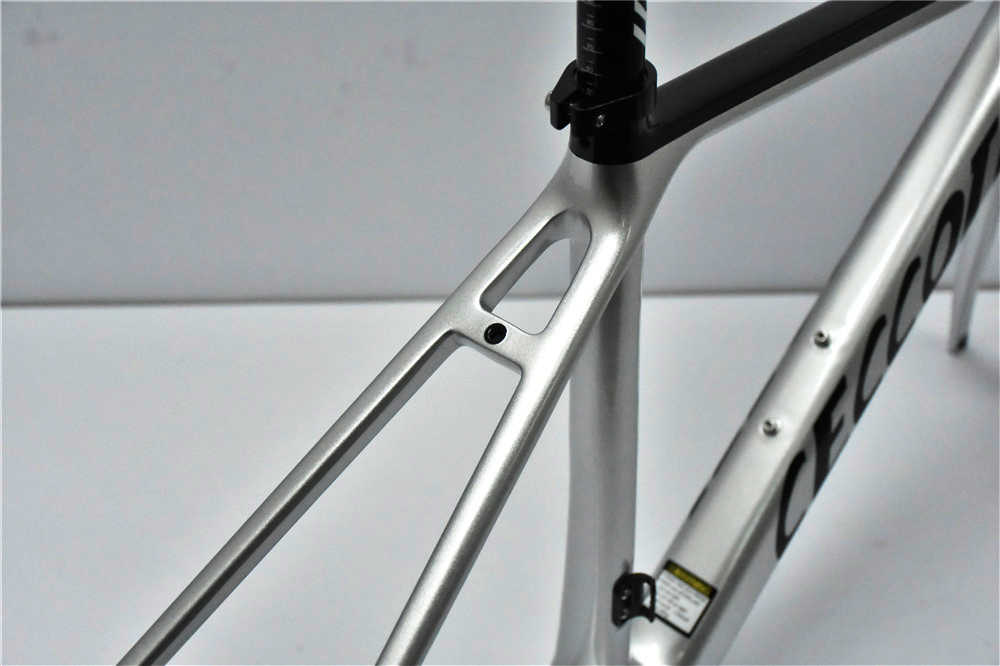 Gümüş karbon bisiklet şasisi BB86 Ultra çakıl bisiklet iskeleti Ceccotti yol bisiklet iskeleti seti