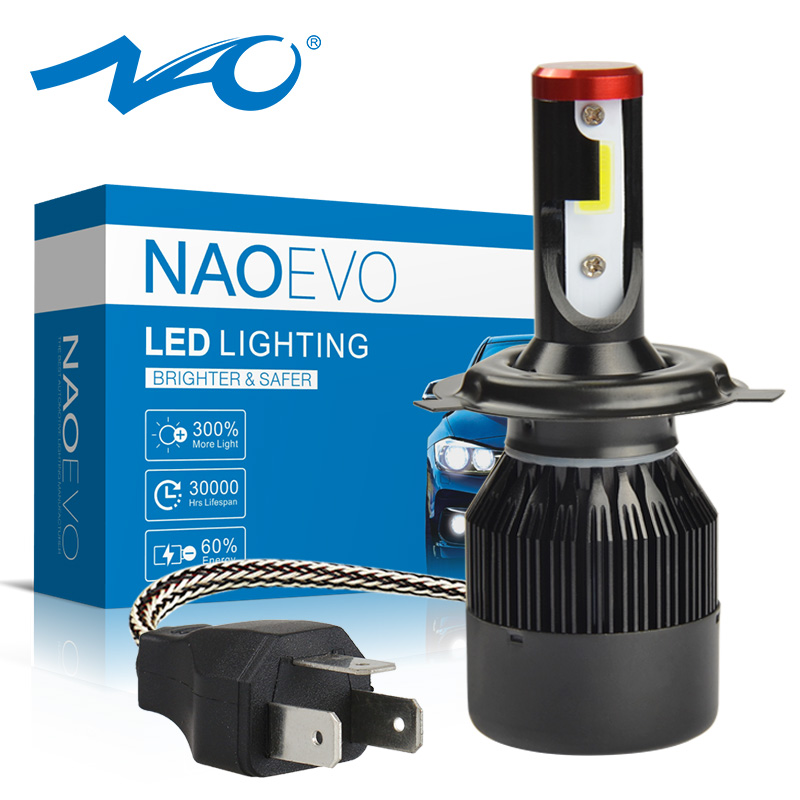 NAO H4 LED Headlight Motorcycle Light Bulb HS1 H4 Hi Lo Beam White DC 12V Motor Bike 6000K COB Headlamp For Scooters Mopeds Lamp