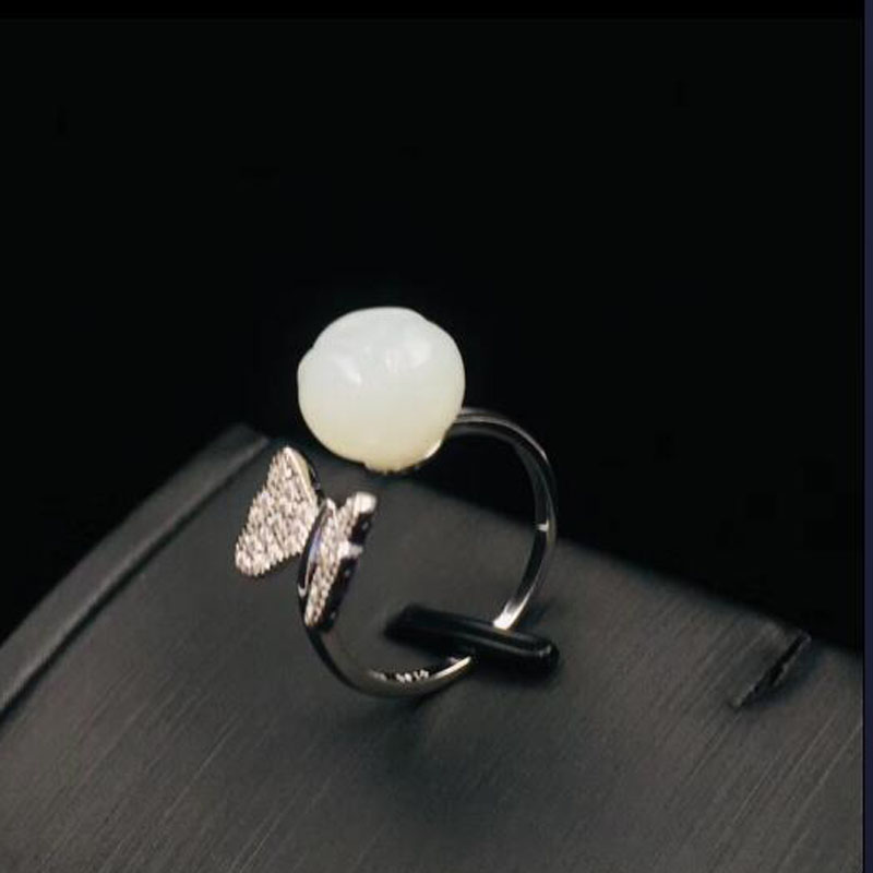 925 en argent Sterling Hetian blanc Jade fleur ouverture anneaux pour les femmes bijoux de luxe